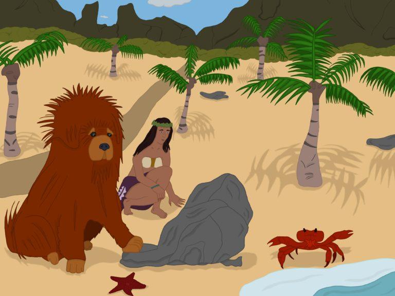 Illustration d'un gros chien avec une femme sur la plage
