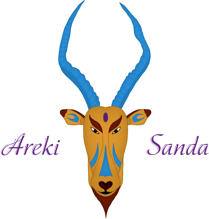 Variante du logo arekisanda avec l'écriture en violet
