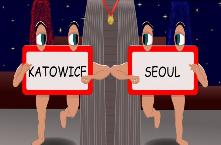 Panneau Katowice et Seoul qui courent