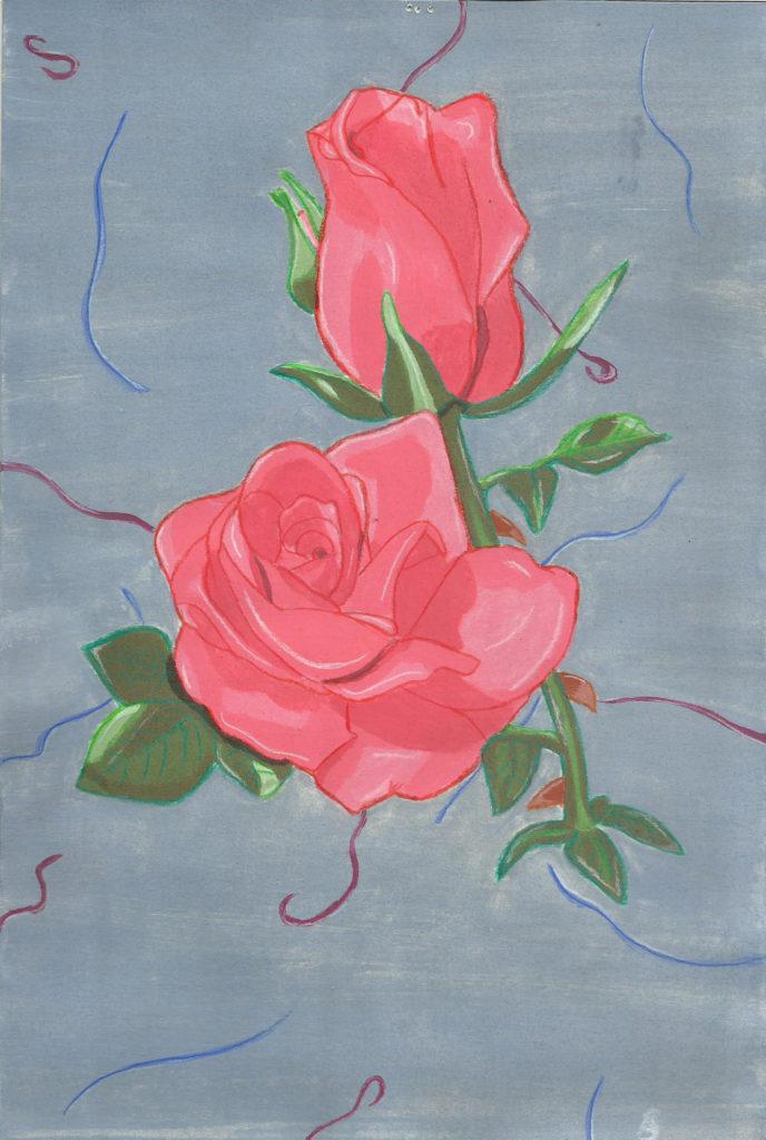 Rose à la gouache sur fond gris